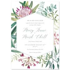 Sample Of Weeding Invitation Protea Botanical Wedding Invite Sample