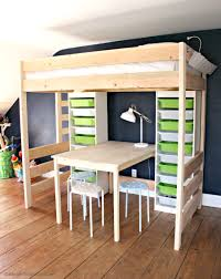 image of loft bed with desk plans ideas
