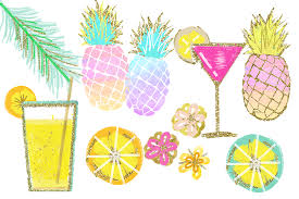 pineapple with sunglasses clipart. tropical clip art, watercolor summer clipart, pineapple beach lemon signature drink with sunglasses clipart