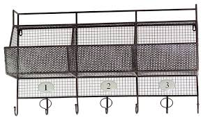 Wall Coat Rack With Baskets Best Metal Wall Shelf Mesh Storage Basket Coat Hanger Rack Home Storage