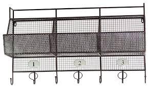 Wall Coat Rack With Baskets Best Metal Wall Shelf Mesh Storage Basket Coat Hanger Rack Home Storage