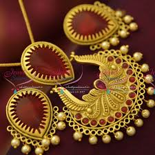 ps5091 latest antique mat finish jewellery nakshi design pendant set