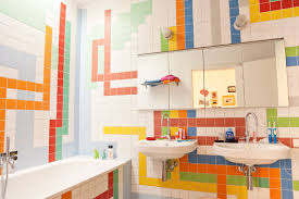 Kids Bathroom Wall Decor Colorful Kids Bedroom Idea With Tetris Wall Decor Also Mirrored