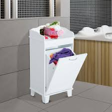 wooden bathroom laundry hamper cabinet tilt out basket storage home furniture