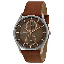 skagen holst charcoal dial brown leather strap men s watch skw6086