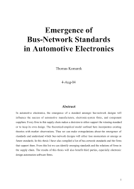 Emergence Of Bus Network Standards In Automotive Electronics