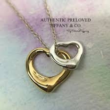 mint authentic tiffany co elsa peretti open heart yellow gold silver necklace women s fashion jewellery necklaces on carou