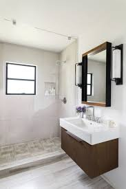 small bathroom ideas modern. Stunning Design Of The White Wall Added With Brown Wooden Cabinets And Sink As Small Bathroom Ideas Modern