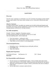 Bartender Resume Template Microsoft Word Resume Template