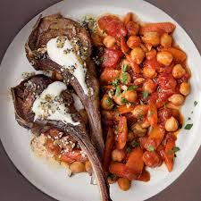 Lamb Chops With Everything Bagel Yogurt And Chickpeas Recipe