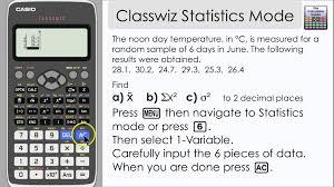 casio classwiz statistics mode find mean variance and other informati