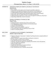 Pharmacy Technician Resume Sample Hospital Pharmacy Technician Resume Samples Velvet Jobs 58