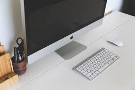 office work table. Desk Computer Mac Work Table Keyboard Technology Interior Internet Workspace Office Communication Shelf Business Furniture Modern