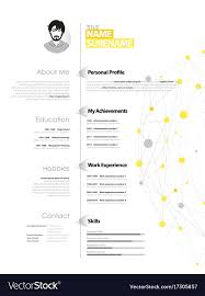 Creative Simple Cv Template With Yellow And Grey Vector Image