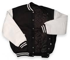 baseball jacket black wool white pleather sleeves with lining