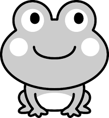 可愛いカエルの白黒イラスト イラストストック