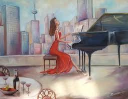 oil painting woman playing piano