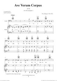 ave verum corpus sheet music mozart ave verum corpus sheet music for cello and piano