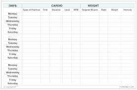 Muscle Chart Template Impressive Exercise Chart Template Print Free Blank Workout In Excel Sheet