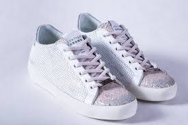 leather crown perforated leather rose glitter low top sneaker