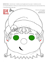 Face Masks Templates Christmas Elf Mask Printable Coloring Page More Fun Activities And 14