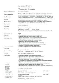 Example Resume For Warehouse Worker Warehouse Job Description For ...