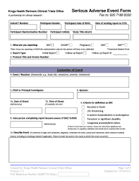 adverse event reporting form fillable online serious adverse event report form v2 32 pdf the