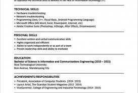 Sample Resume Format For Fresh Graduates Single Page Download