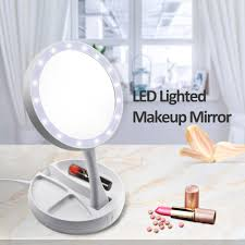 Portable 10x Magnification Makeup Mirror Led Lights Mirror Folding Compact Stand Hand Cosmetic Woman Make Up Vanity Bedroom Mirror Best Lighted Makeup