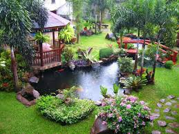Small Picture fish pond and gazebo with flower garden ideas Outdoor water