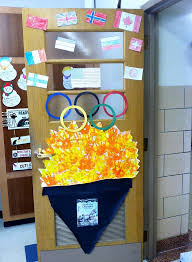classroom door decorations for fall. Olympic Door Decoration Submitted By Lindsay Springer Of Buffalo NY. Photo Courtesy Janelle Cox Classroom Decorations For Fall