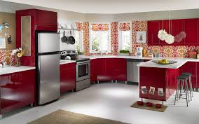 Red Kitchen Furniture Red Painted Kitchen Cabinet