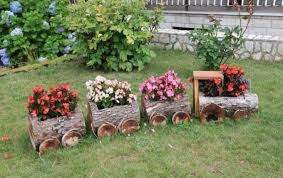 Amazing wooden garden planters ideas try Planter Box Log Train Plantersthese Are The Best Garden Ideas Kitchen Fun With My Sons The Best Garden Ideas And Diy Yard Projects Kitchen Fun With My