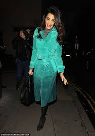 looking good amal clooney was a vision in a 4200 burberry green trench coat