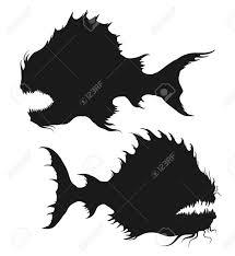 海の怪物を設定します深海魚のシルエット黒と白は白い背景で隔離の図を描くフリーハンドベクトルの