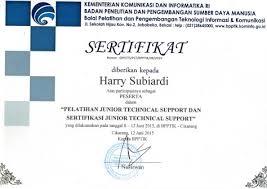 Sertifikat Pelatihan Sertifikat Pelatihan Junior Support Dan Sertifikasi Junior