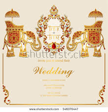 indian wedding card vector download free vector art, stock Wedding Card Vector Graphics Free Download indian wedding invitation card templates with gold elephant patterned and crystals on paper color Vector Background Free Download