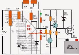 make this 48v automatic battery charger circuit electronic the 10k preset must be adjusted to set the full charge level while the 22k preset for detecting the lower threshold of the battery