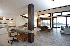modern open plan interior office space. With That Pole In Between, Living Area And Home Office Casas Del Sol 3 Luxurious House Modern Open Plan Interior Space