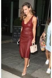 jessica alba new york city tea length leather prom dress jpg