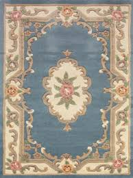 lotus premium wool aubusson rug in blue