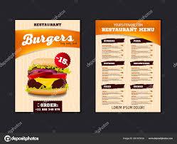 Design Fast Food Menu Fast Food Menu Brochure Design On A Light Background Vector