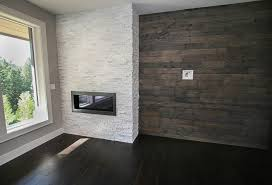 fireplace with white stack stone