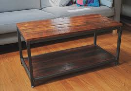 reclaimed pine and steel coffee table with shelf