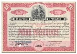 Puget Sound Power And Light Company Puget Sound Power Light Company Stock Certificate