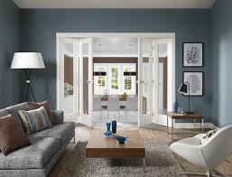 Freefold Pattern 10 (clear glass) White Internal Folding Sliding Doors