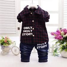 2016 new children clothing set red green plaid shirts jeans baby boys clothes bebe clothes set in clothing sets from mother kids on aliexpress