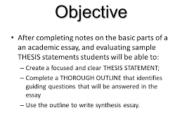 objective after completing notes on the basic parts of a an 2 objective