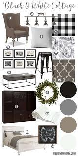 A black \u0026 white farmhouse country cottage decor mood board ...