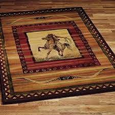 rawhide western cowboy riding horse southwestern area rug